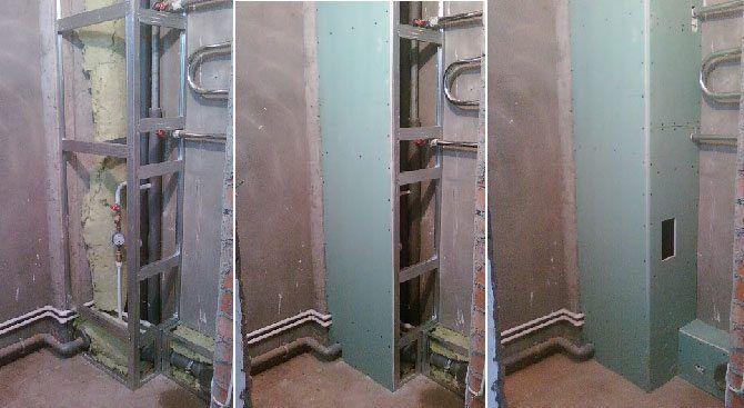 Как сделать сантехнический шкаф в туалете из гипсокартона