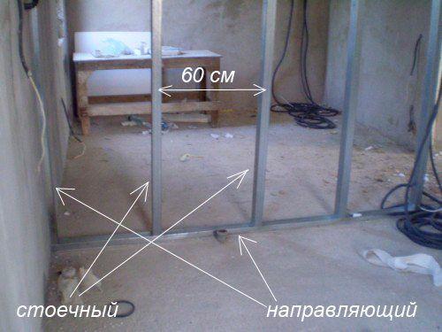 Монтаж профиля для гипсокартона с утеплителем