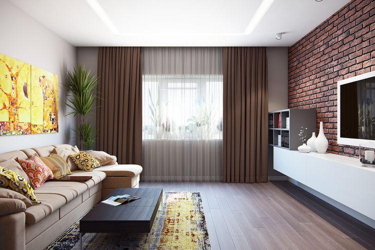 Фото дизайн зала одним окном