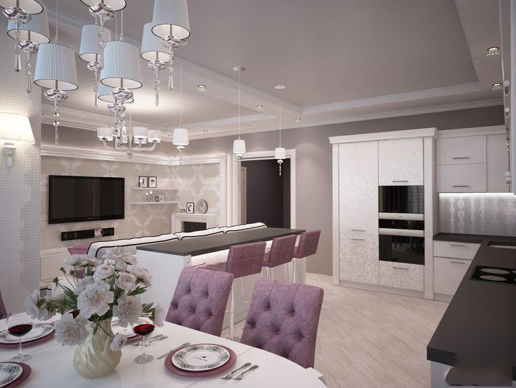 Кухня-гостиная в стиле Арт Деко