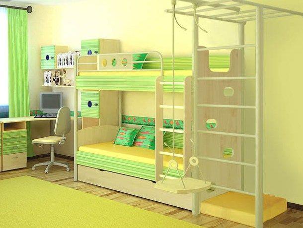 Дизайн детской с двухъярусной кроватью