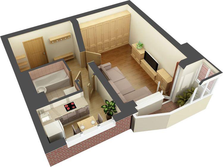 фото однокомнатных квартир дизайн 40 кв.м