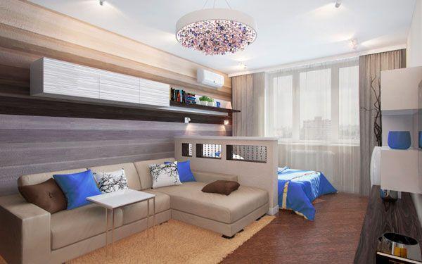 Пример дизайна спальни-гостиной