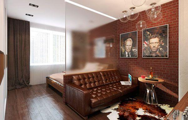 Зонирование комнаты при помощи стеклянной перегородки