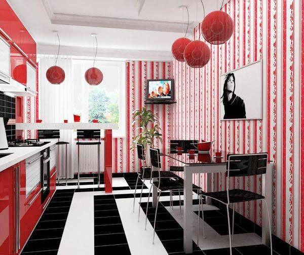 Кухня в необычных узорах и цветовой гамме