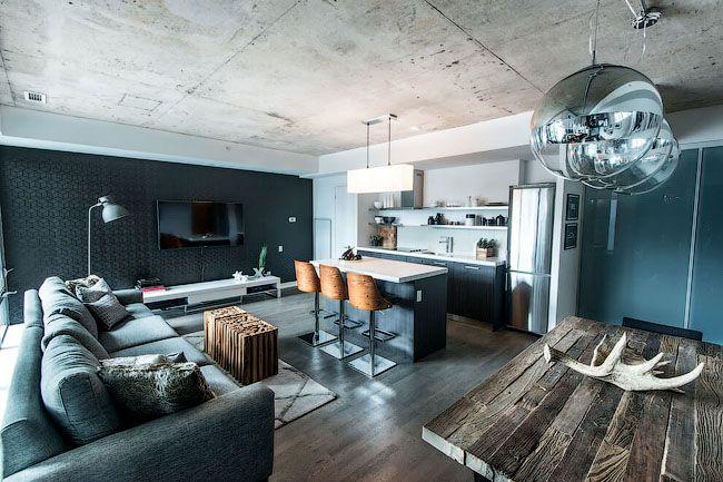 Нестандартное объединение кухни и комнаты