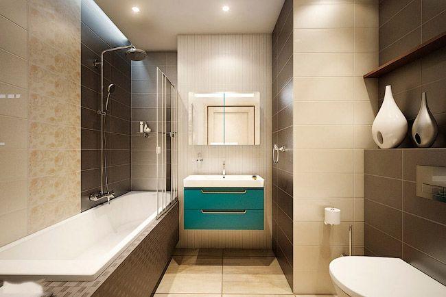 Бирюзовый мойдодыр в интерьере ванной комнаты стиля минимализм