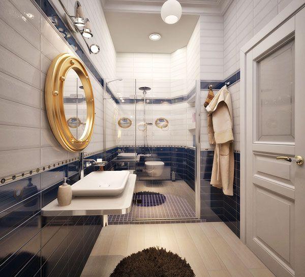 Пример оформления ванной комнаты в морском стиле