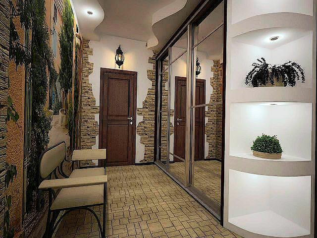 Узкий коридор с зеркальным шкафом и лавкой напротив