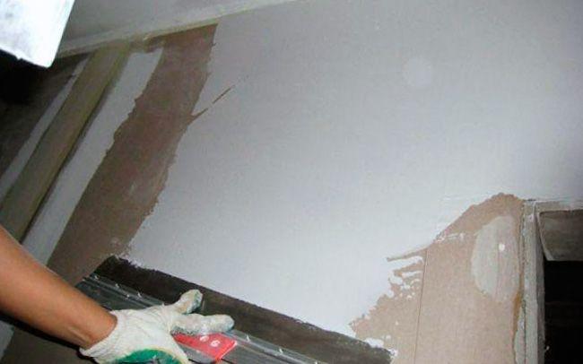 Шпатлевка стены из гипсокартона