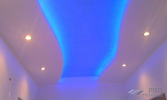Как сделать двухуровневые потолки из гипсокартона с натяжными потолками фото