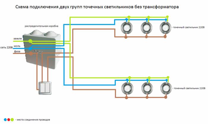 Как сделать проводку для точечных светильников на потолке из гипсокартона