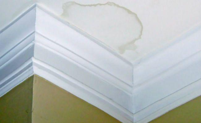 Как убрать желтые пятна на потолке после затопления на гипсокартоне