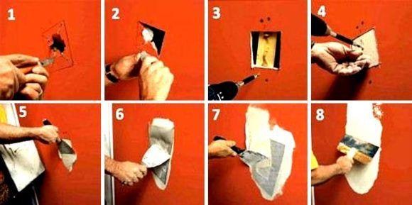 Инструкция как заделать дырку в гипсокартоне