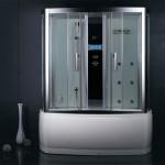 СПА-процедуры и сауна у вас дома - это душевая кабина в маленькой ванной комнате фото решения