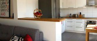 Скандинавский стиль кухни гостиной