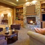Современные камины в интерьере гостиной: фото