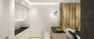 Кухня и гостиная в стиле минимализм