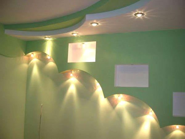Освещение потолков из гипсокартона в комнате