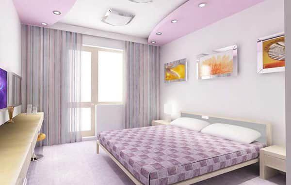 Дизайн потолков из гипсокартона для спальни